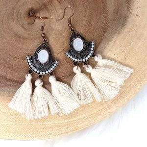 Retro Boho Dangle Pearl Drop Earrings